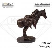 مجسمه برنز زن روی اسب